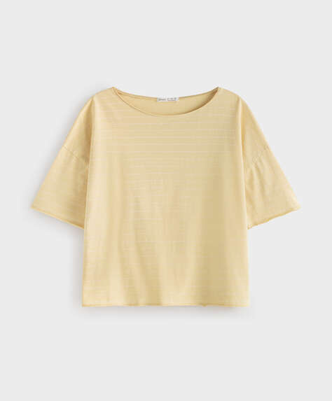 Stripe 100% cotton short-sleeved T-shirt