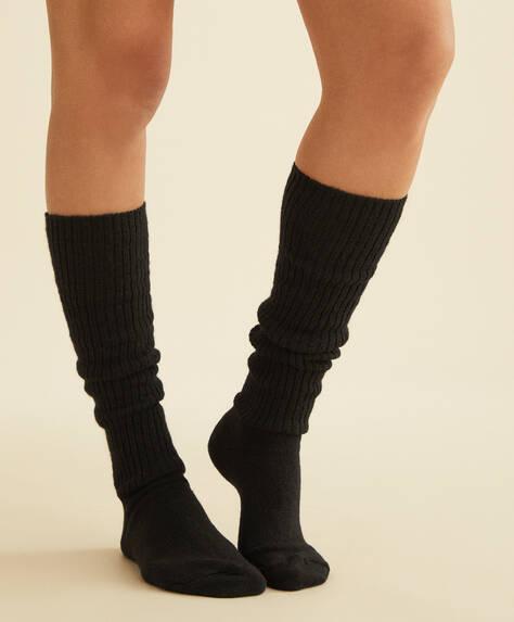 Long ribbed wool socks