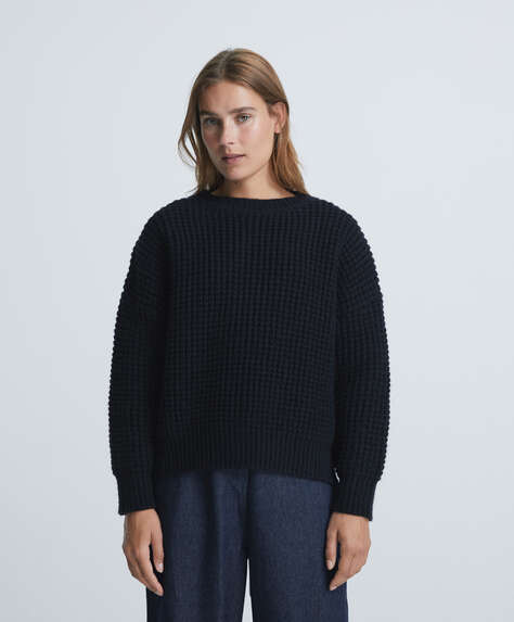 Pullover maglia waffle cropped