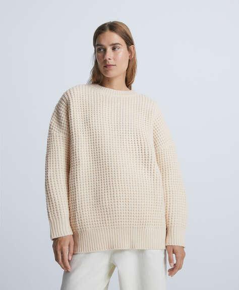 Pullover maglia waffle oversize