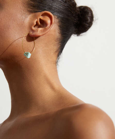 Amazonite hoop earrings