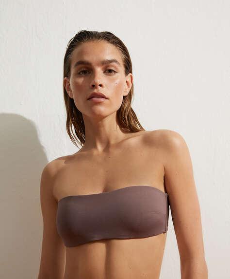 Bandeau-Bikini mit Bindedetail
