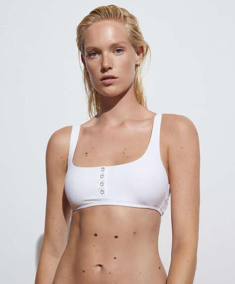 Haut de bikini top rib à boutons-pression