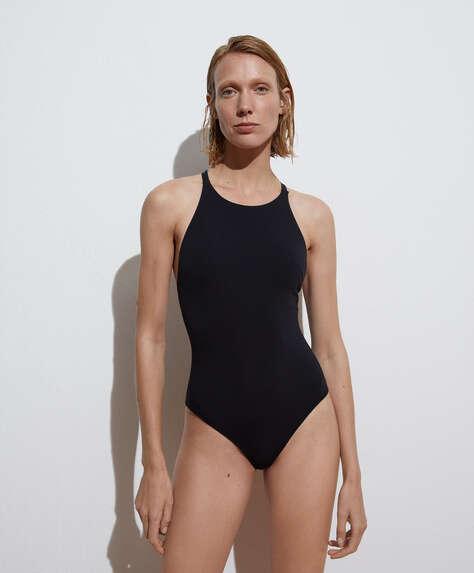 Crossover back halterneck swimsuit