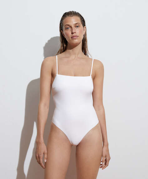 Ruched back bandeau swimsuit