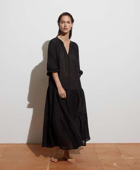 Lange jurk van 100% linnen