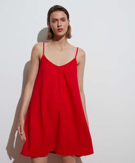 Korte jurk van 100% katoen met schouderbandjes