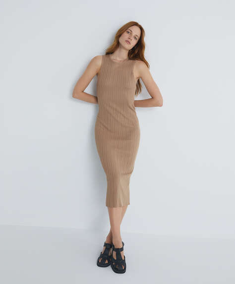 Long rib knit dress