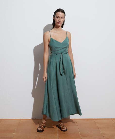 Long linen strappy dress