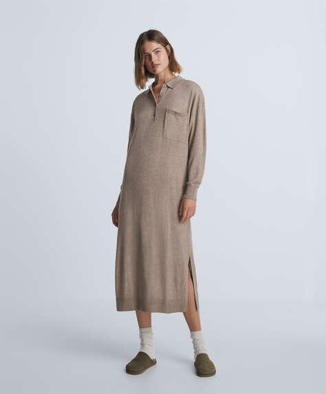 Long polo knit dress