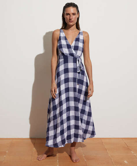 Long 100% linen gingham dress