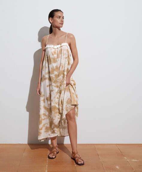 Long 100% cotton strappy tie-dye dress