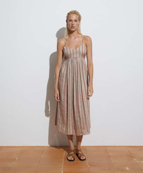 Long striped cotton and linen dress