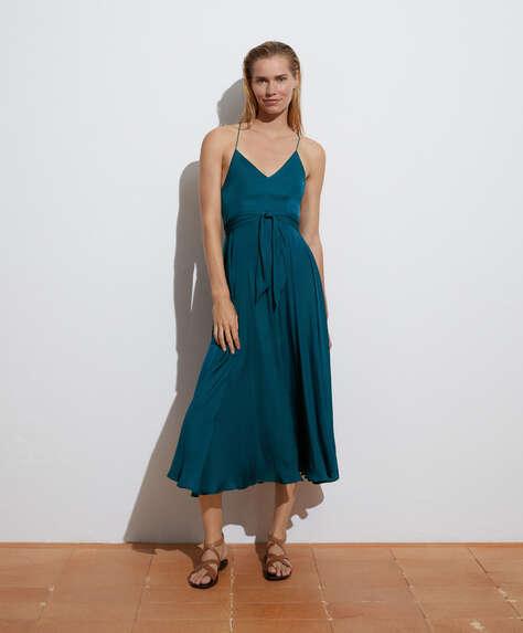 Long satin strappy dress