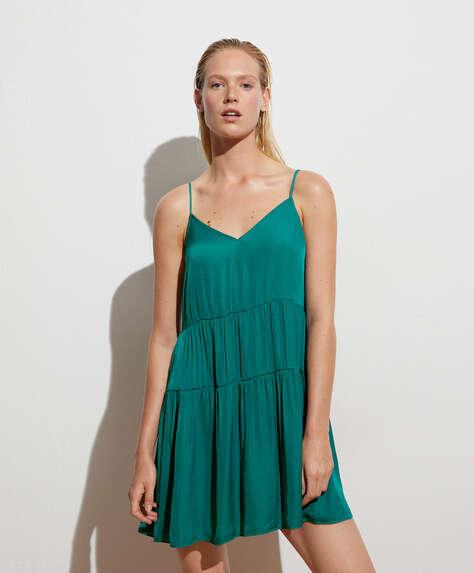 Satin-finish short dress