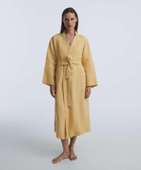 100% linen dressing gown