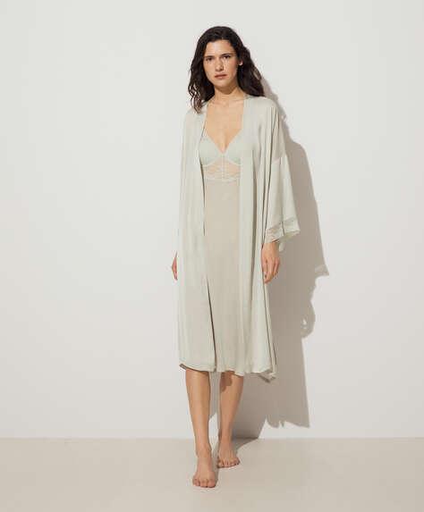 Lace and satin bath robe