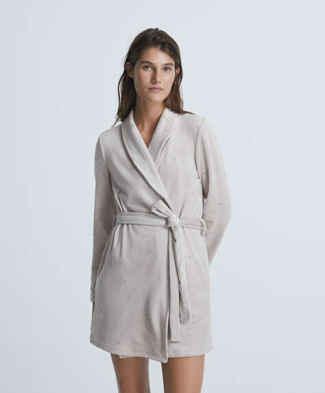 Soft touch dressing gown