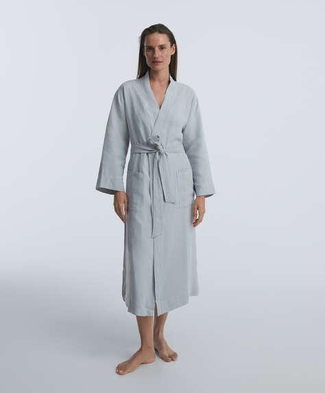 100% linen long dressing gown