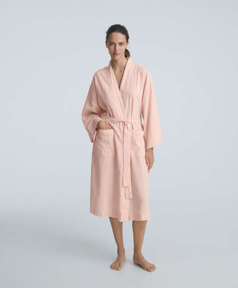 100% cotton textured stripe dressing gown
