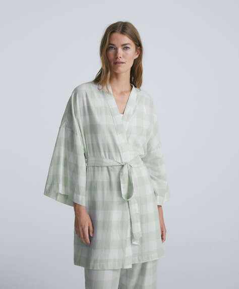 Gingham check 100% cotton dressing gown