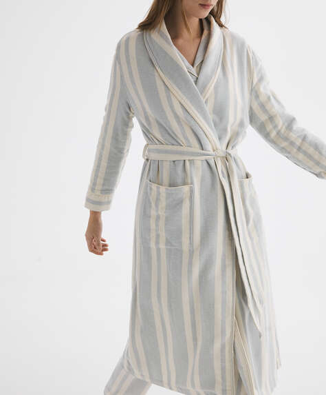 Extra warm striped 100% cotton dressing gown