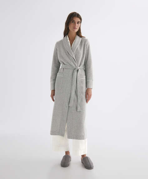 Long dressing gown with trims