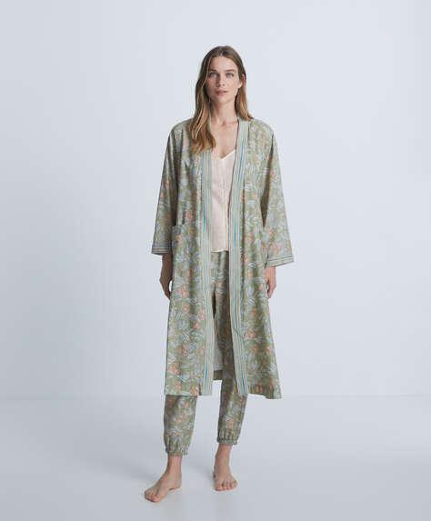Long print dressing gown