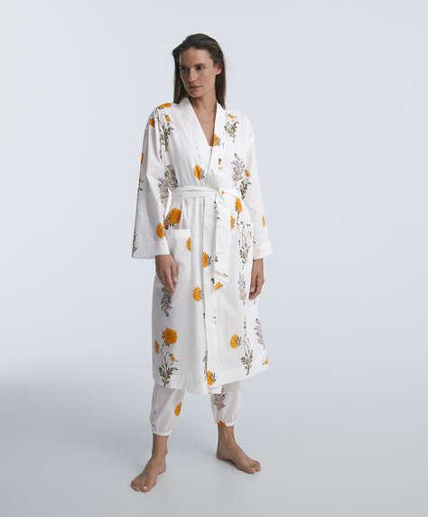 100% cotton floral dressing gown