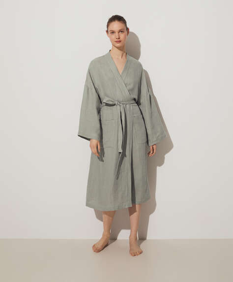 100% linen waffle dressing gown