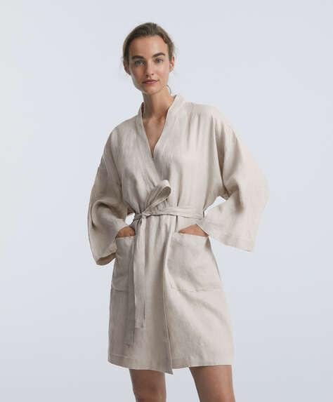 100% linen dressing gown with pockets