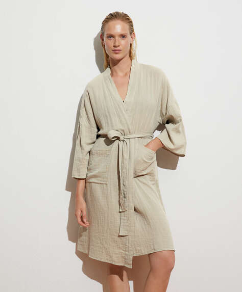 Plain soft touch dressing gown in 100% cotton