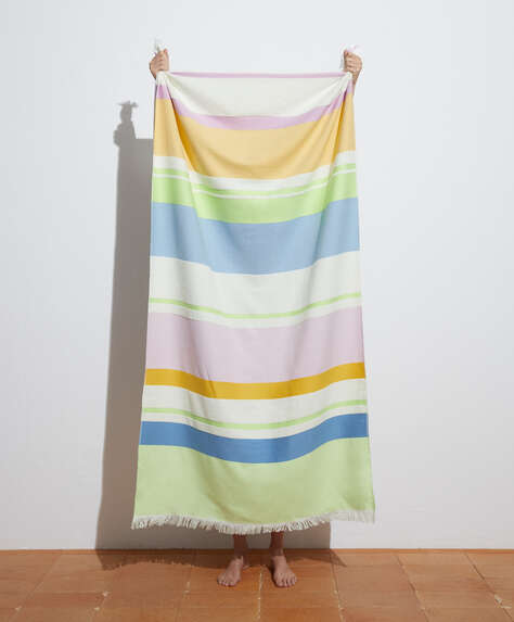Multi-stripe 100% cotton towel