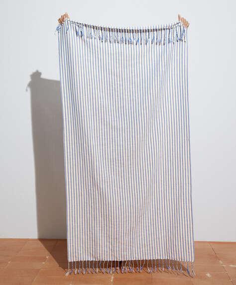 Leichtes Handtuch aus 100% Baumwolle mit Marinestreifen
