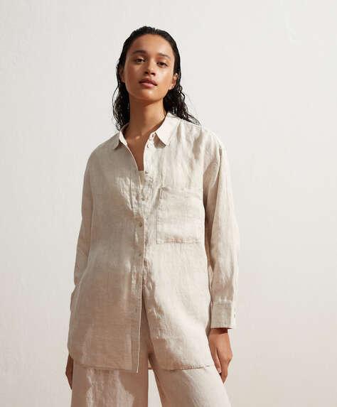 Camisa manga larga 100% lino oversize