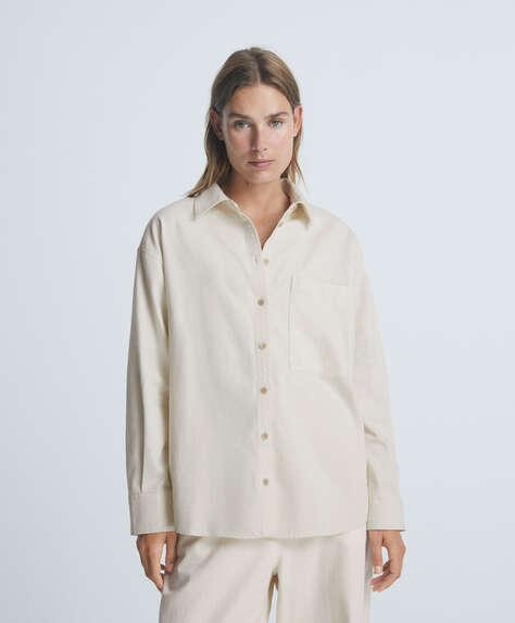 Camisa de manga comprida denim 100% algodão