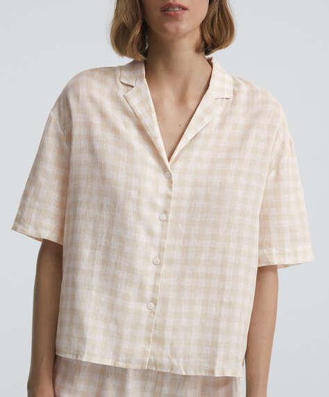 Gingham short-sleeved linen shirt