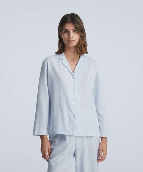 Chemise à manches longues 100% coton à rayures