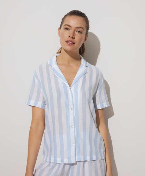 Chemise à manches courtes 100% coton à rayures bleues