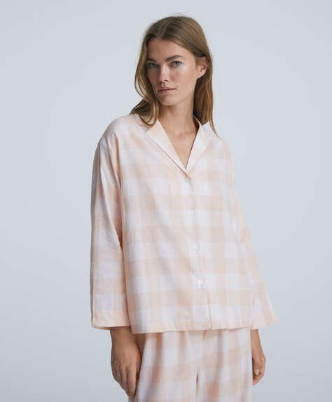 Gingham 100% cotton long-sleeved shirt