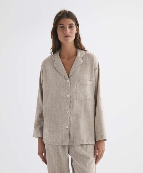 Stripe 100% cotton long-sleeved shirt