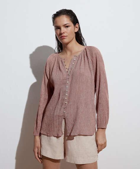 100% cotton gingham long-sleeved shirt