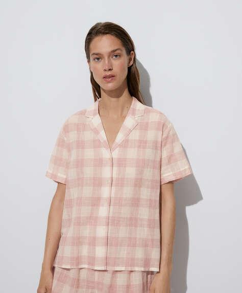 100% cotton short-sleeved check shirt