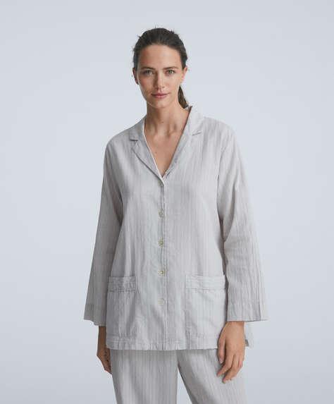 Textured stripe 100% cotton long-sleeved shirt