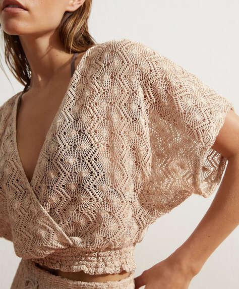 Short-sleeve cotton crochet top