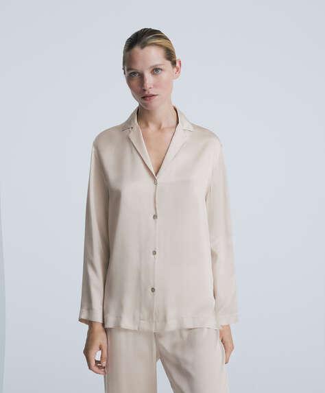 100% silk long-sleeved shirt