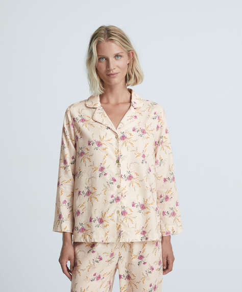 Floral 100% cotton long-sleeved shirt