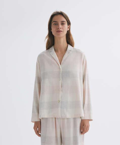 Check 100% cotton long-sleeved shirt