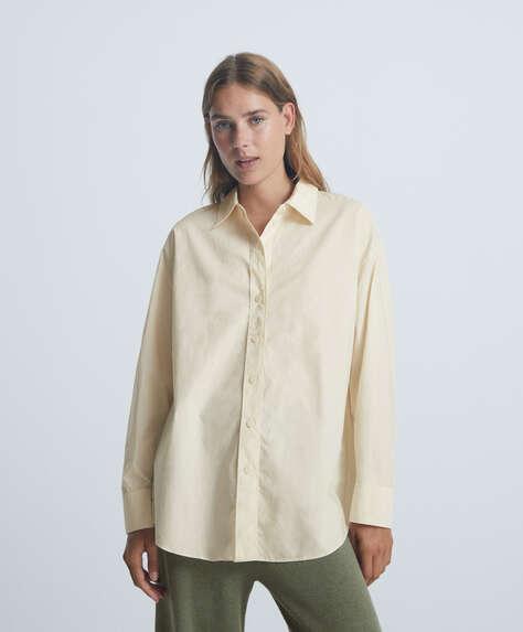Camisa oversize de manga comprida 100% algodão