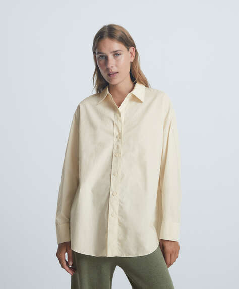 Long-sleeved oversize shirt in 100% cotton
